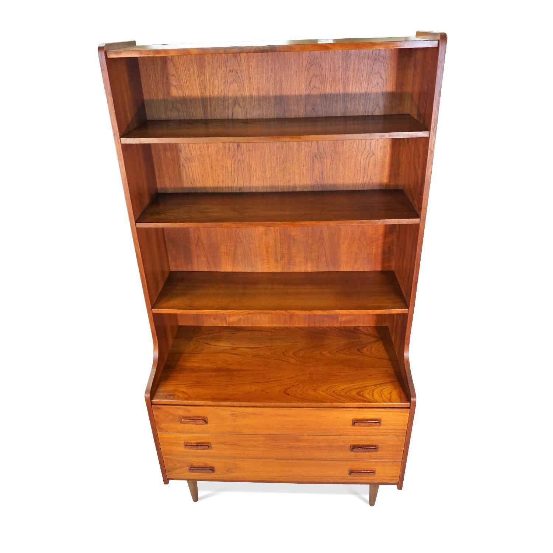 Danish Mid Century Modern Bookcase W/ 3 Drawers-1