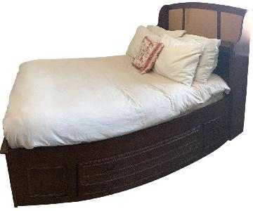 wood full bed frame w builtin drawers u0026 storage headboard