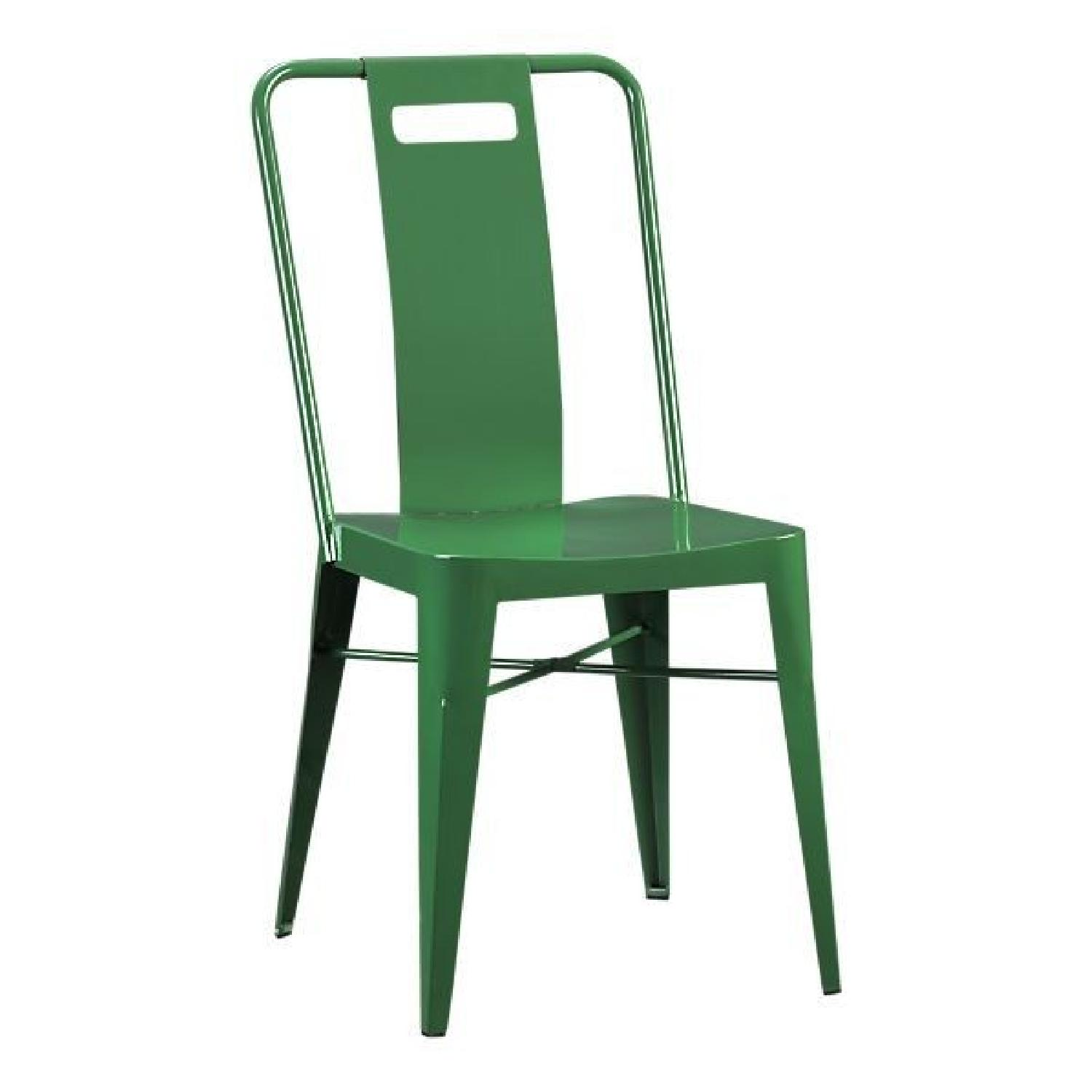 Crate & Barrel Green Metal Dining Chairs AptDeco