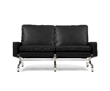 Rove Concepts Black Leather Loveseat