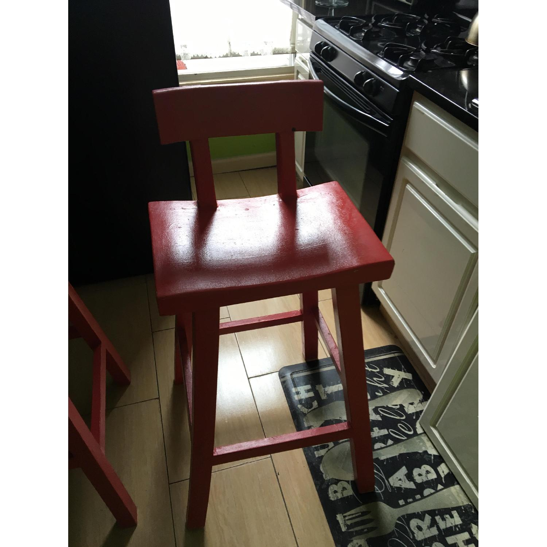 Handmade Wood Stool w/ Backrest-1