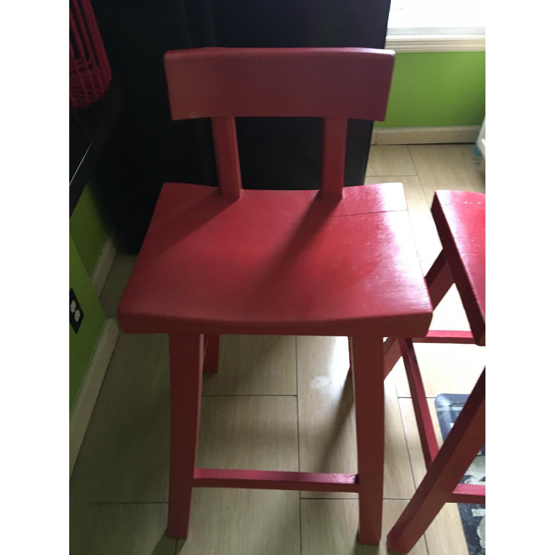 Handmade Wood Stool w/ Backrest-2