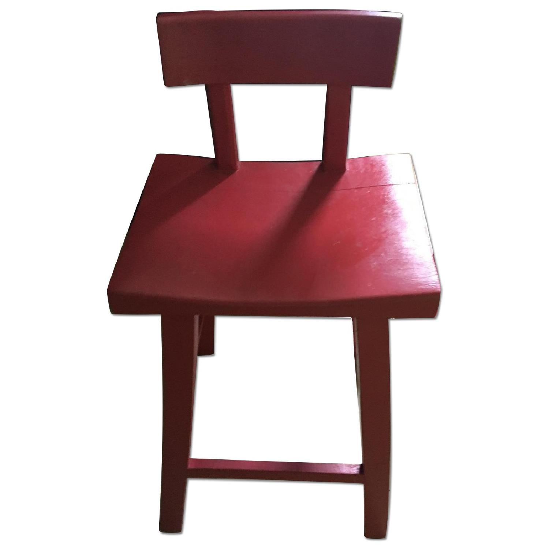 Handmade Wood Stool w/ Backrest