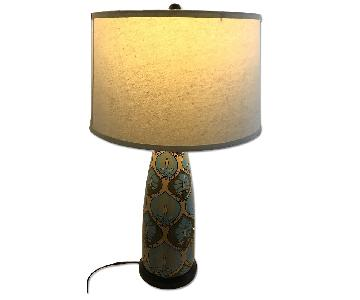Custom Gold/Blue Hand Painted Table Lamp