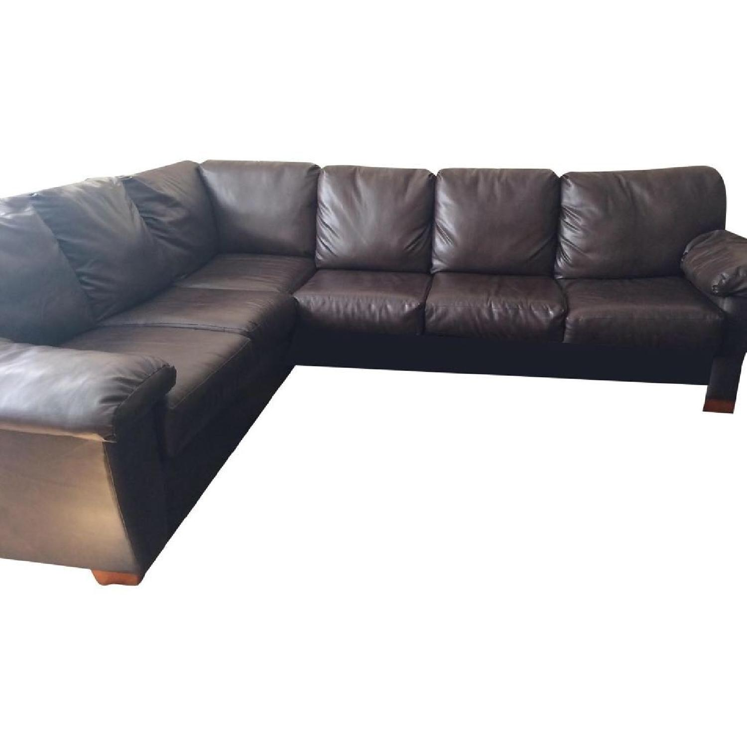 Jennifer Convertibles Brown Leather Sleeper Sectional ...  sc 1 st  AptDeco : jennifer leather sectional - Sectionals, Sofas & Couches