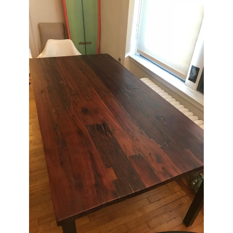 West Elm Dark Wood Distressed Dining Table w Iron Legs AptDeco