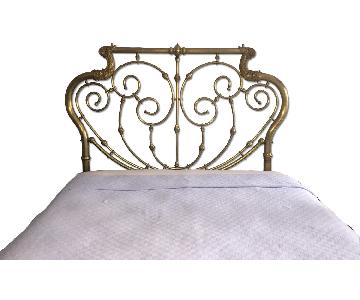 Antique Brass Queen Bed Frame w/ Headboard