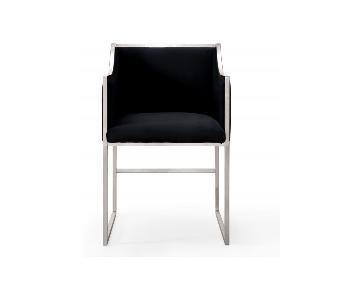 TOV Atara Black Velvet Silver Chair