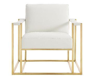 TOV Baxter Ostrich Print Chair in Cream