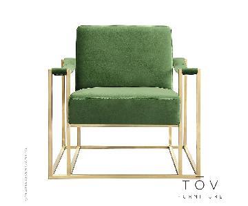 TOV Baxter Green Velvet Chair