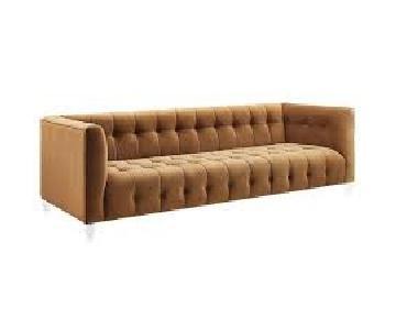 TOV Bea Cognac Velvet Sofa