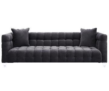 TOV Bea Grey Velvet Sofa
