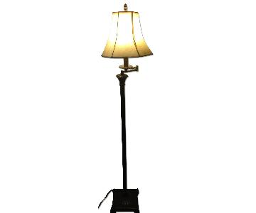 Berman Brown Metal Floor Lamp in Antique/Distressed Finish