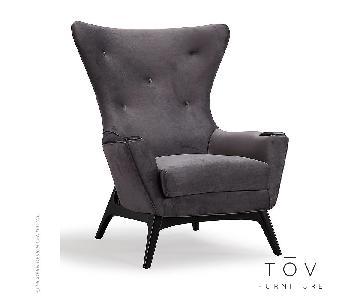 TOV Charlie Grey Velvet Chair