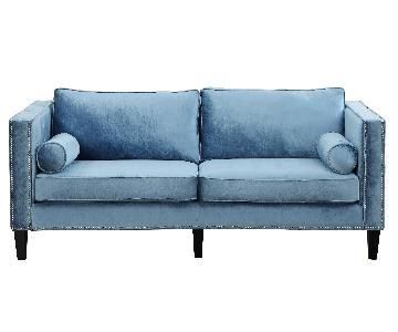 TOV Cooper Blue Velvet Sofa