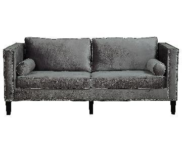 TOV Cooper Grey Velvet Sofa