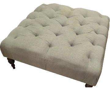 The Madison Collection Tufted Ottoman w/ Wooden Peg Legs