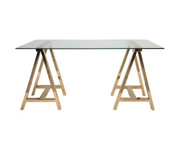 Safavieh Couture High Line Glass & Brass Desk