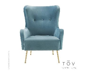 TOV Ethan Sea Blue Velvet Chair