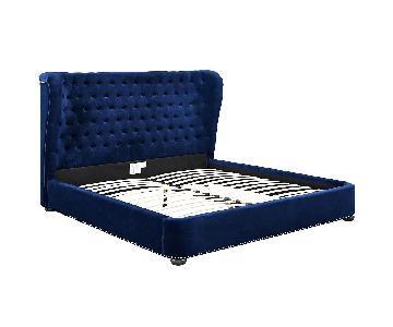 TOV Finley Blue Velvet Queen Bed