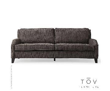 TOV Hartford Grey Linen Sofa