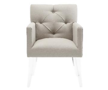 TOV Lafayette Beige Linen Acrylic Chair