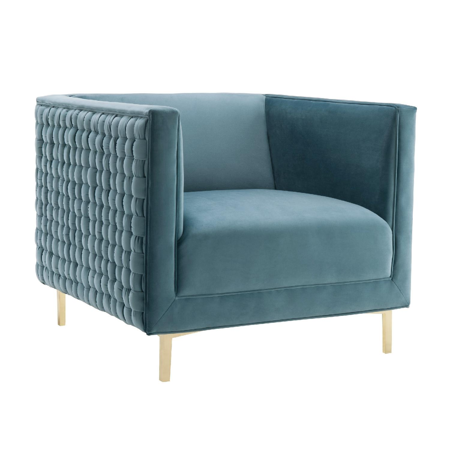 TOV Bristol Sea Blue Velvet Chair with Lucite Legs - AptDeco