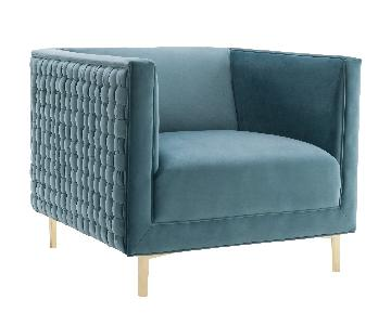 TOV Sal Sea Blue Woven Chair