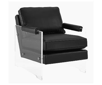TOV Serena Black Eco Leather/Lucite Chair