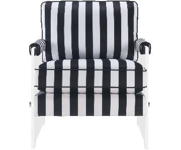 TOV Serena Black and White Velvet/Lucite Chair