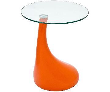 Orange Teardrop Base Side Table