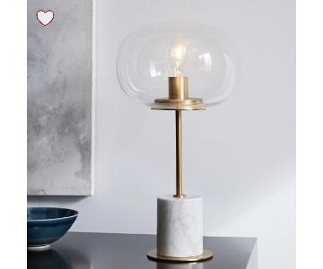 West Elm Balloon Glass & White Marble Table Lamp