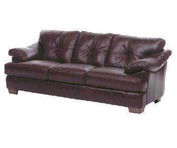Brown Italian Leather Sofa & Ottoman