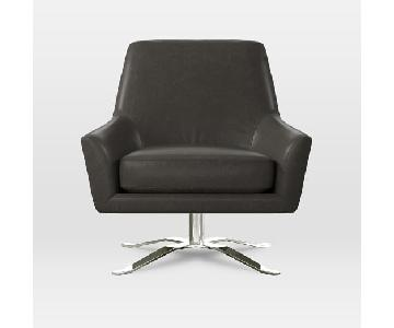 West Elm Charcoal Leather Lucas Swivel Chair