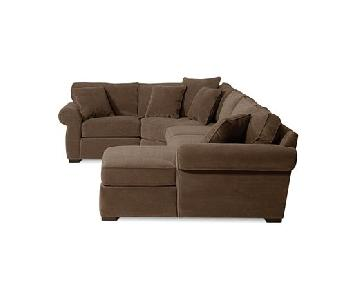 Macy's Beige/Natural Sectional & Ottoman
