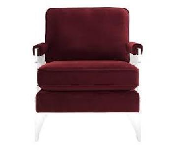 TOV Serena Burgundy Velvet/Lucite Chair