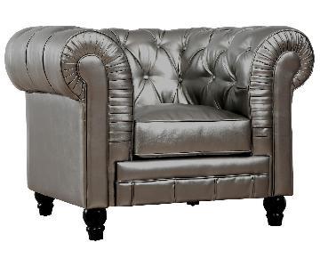 TOV Zahara Silver Leather Club Chair