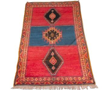 Hand-Knotted Turkish Hooked Gul Wool Area Rug