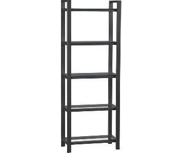 Crate & Barrel Graphite & Glass Bookcase