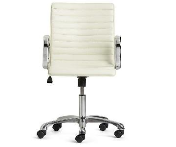 Crate & Barrel Ripple Ivory Leather Office Chair