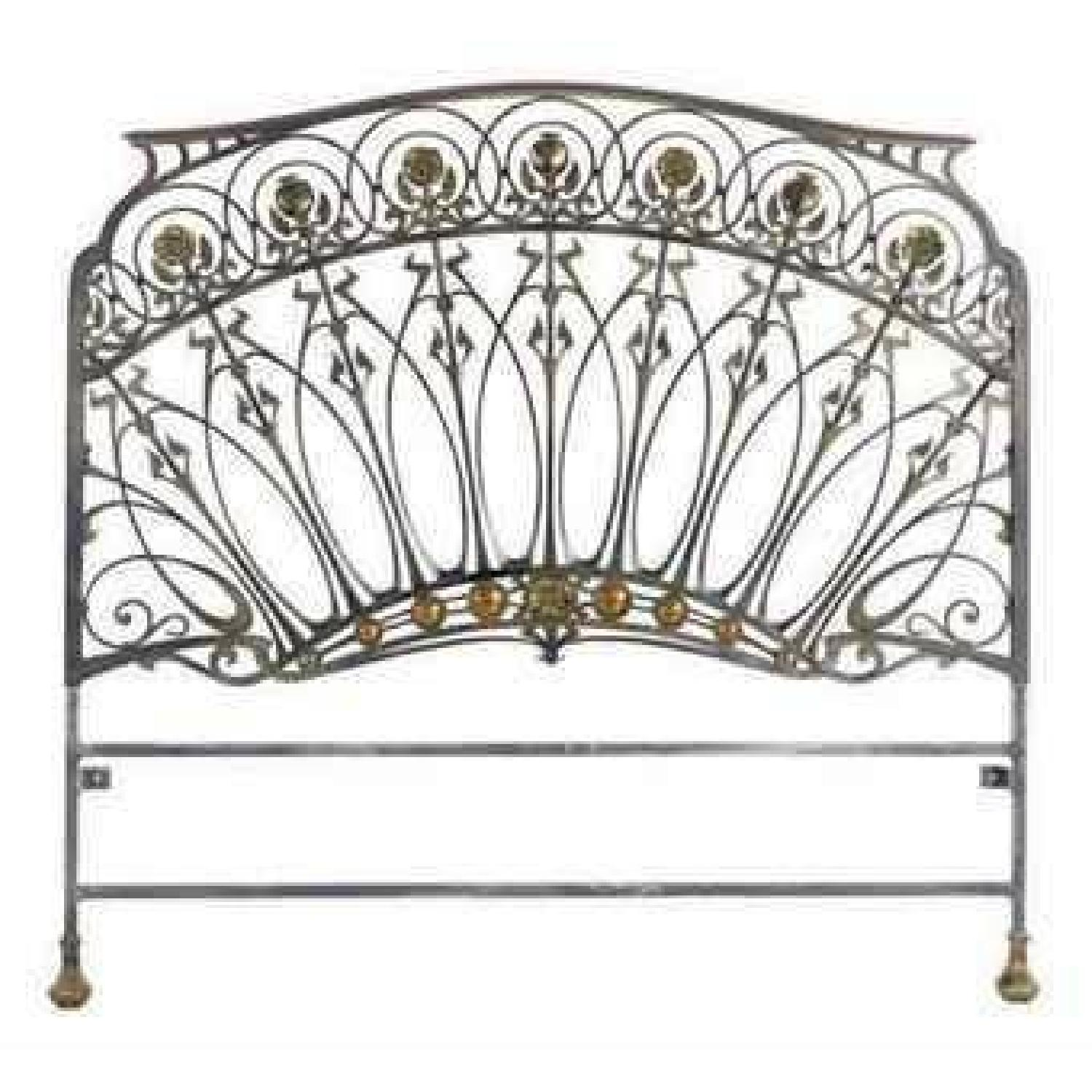 Early 20th-Century French Art Nouveau Wrought Iron and Gilt Bronze Headboard - image-0