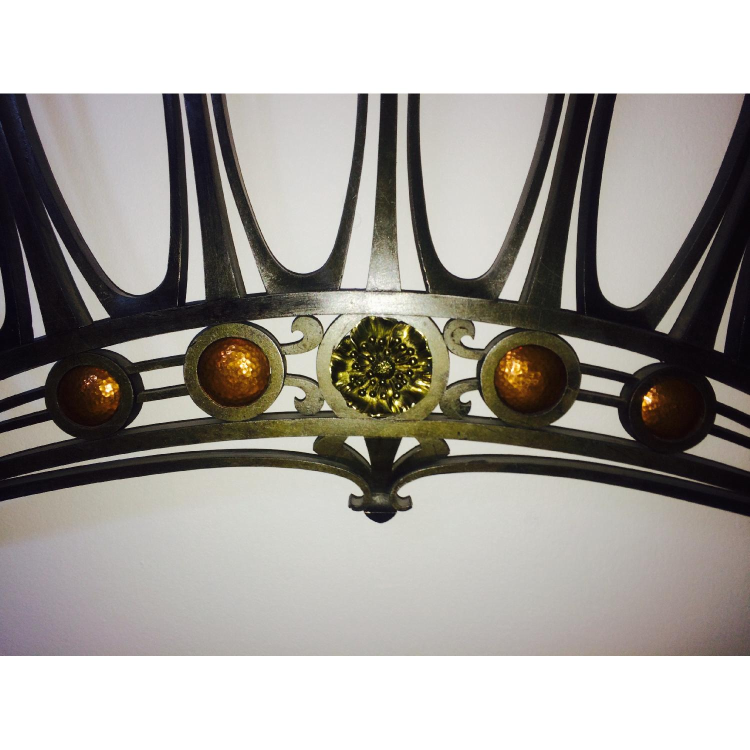 Early 20th-Century French Art Nouveau Wrought Iron and Gilt Bronze Headboard - image-1