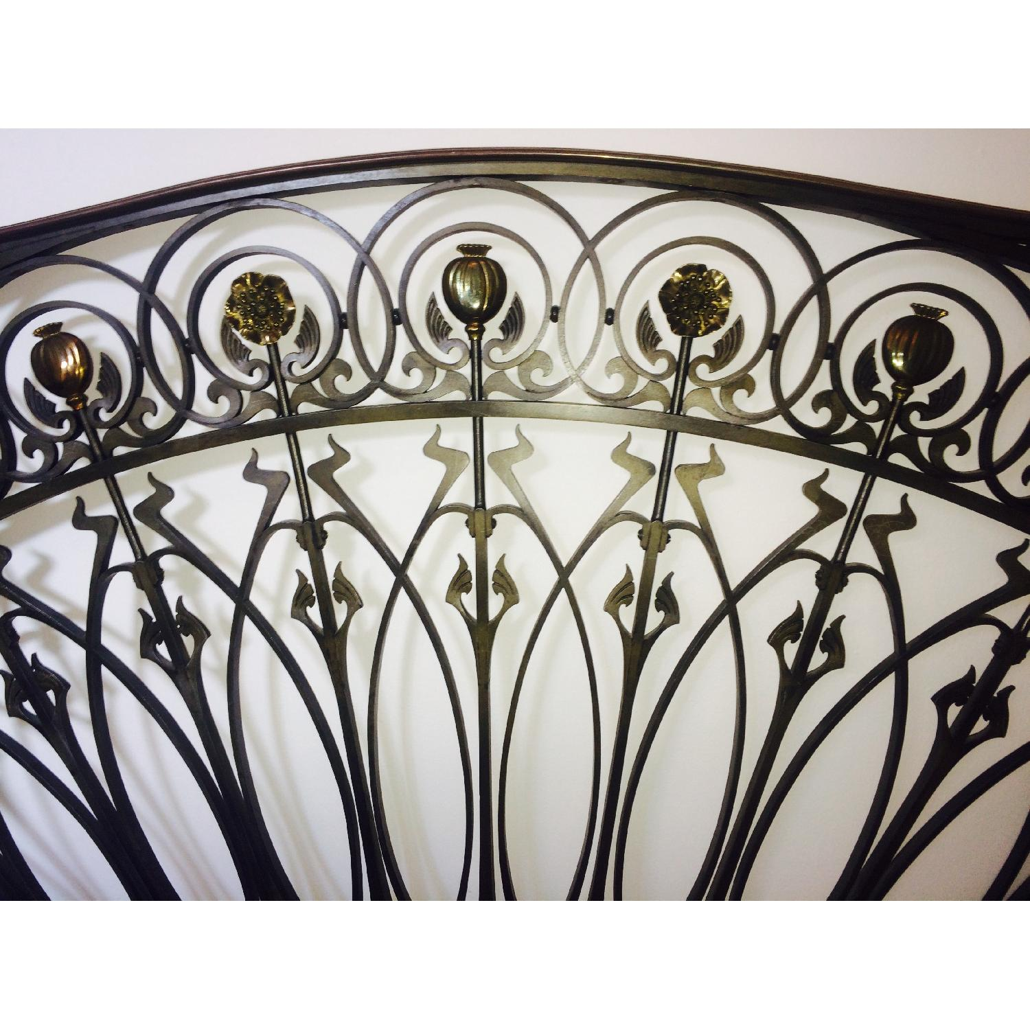 Early 20th-Century French Art Nouveau Wrought Iron and Gilt Bronze Headboard - image-2