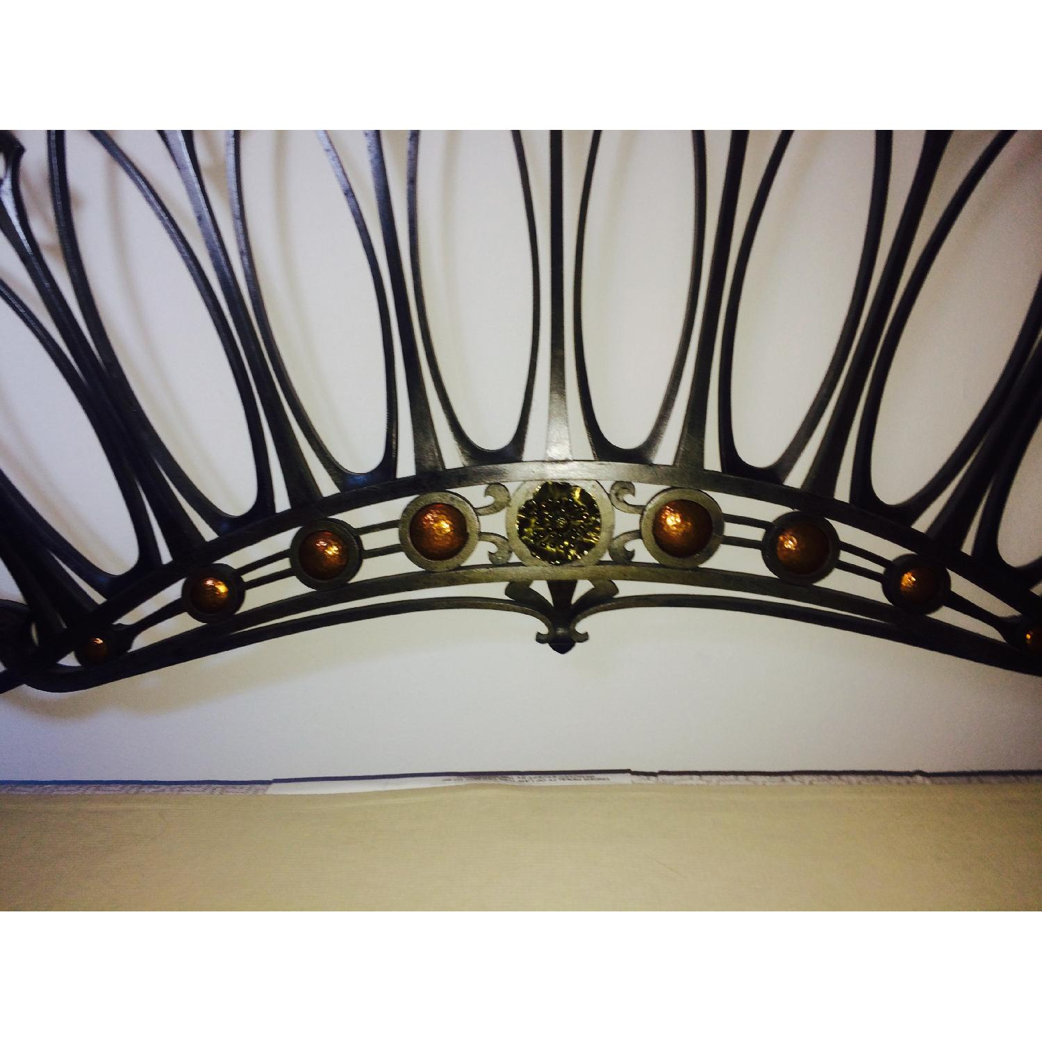 Early 20th-Century French Art Nouveau Wrought Iron and Gilt Bronze Headboard - image-3