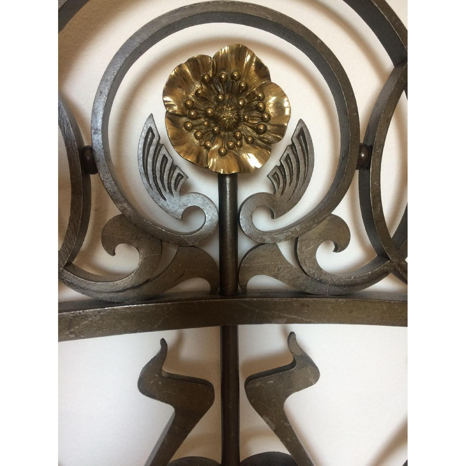 Early 20th-Century French Art Nouveau Wrought Iron and Gilt Bronze Headboard - image-4