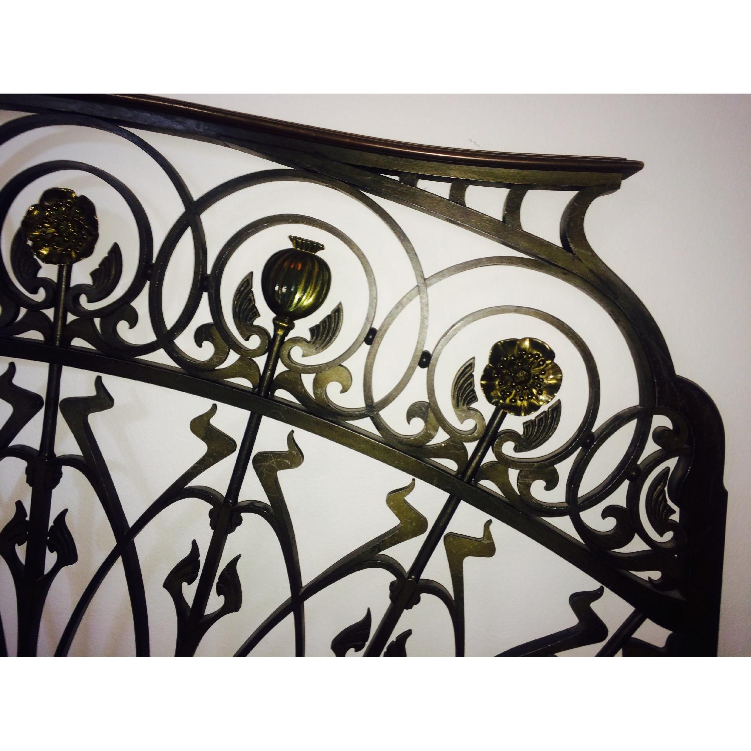 Early 20th-Century French Art Nouveau Wrought Iron and Gilt Bronze Headboard - image-5