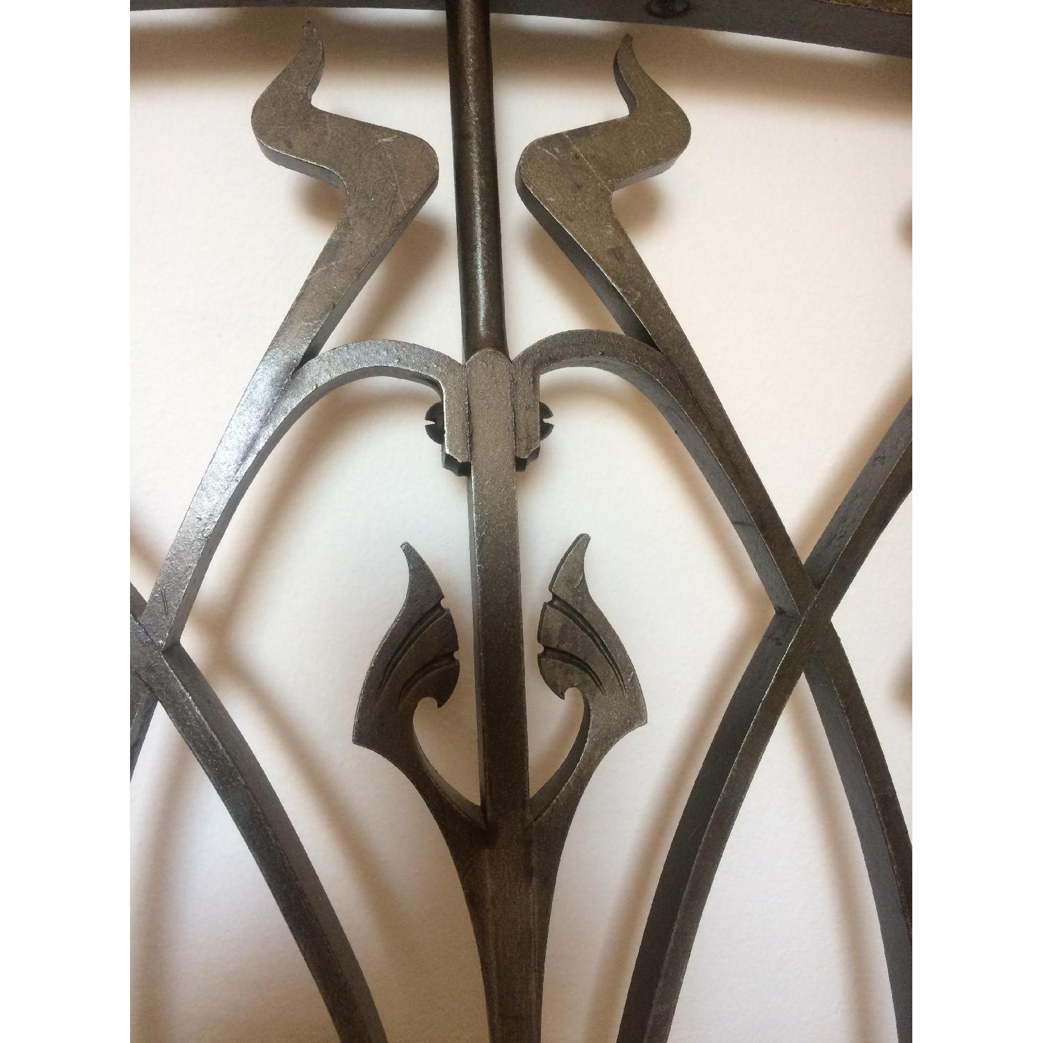 Early 20th-Century French Art Nouveau Wrought Iron and Gilt Bronze Headboard - image-6