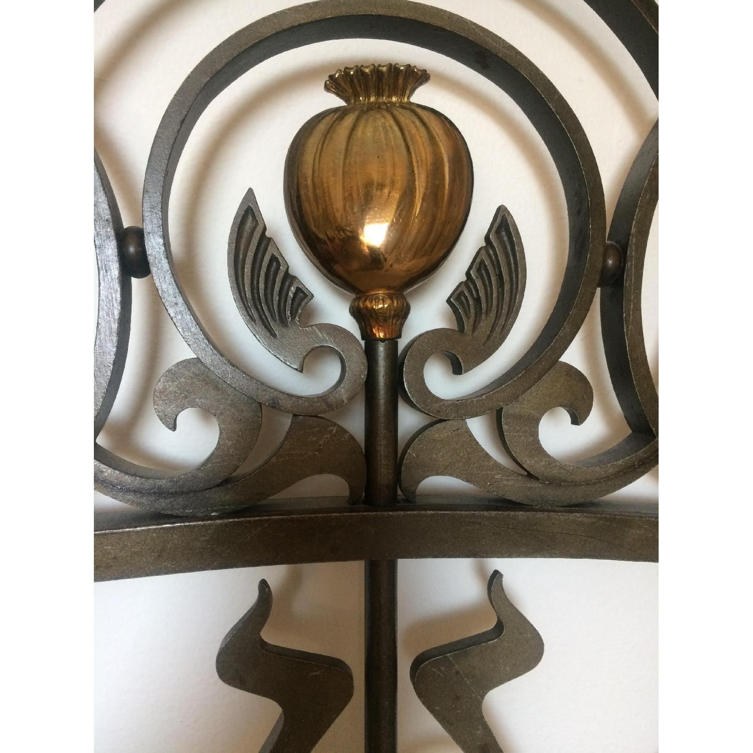 Early 20th-Century French Art Nouveau Wrought Iron and Gilt Bronze Headboard - image-7