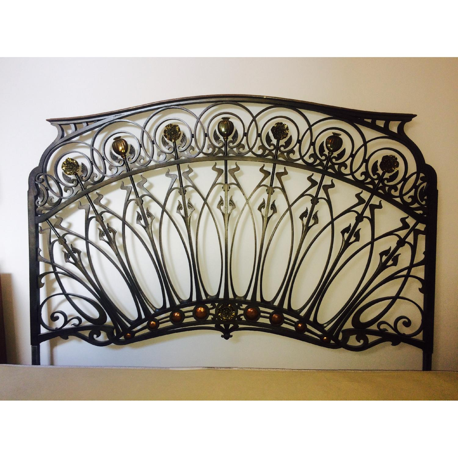 Early 20th-Century French Art Nouveau Wrought Iron and Gilt Bronze Headboard - image-8