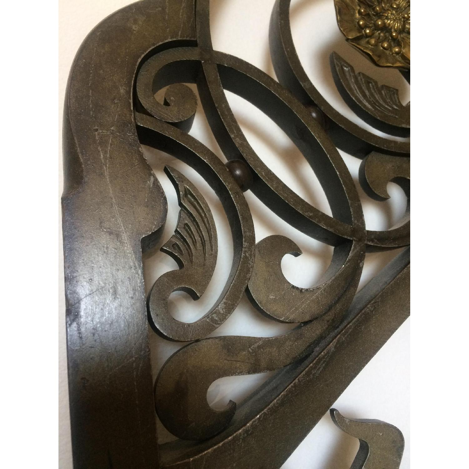 Early 20th-Century French Art Nouveau Wrought Iron and Gilt Bronze Headboard - image-9